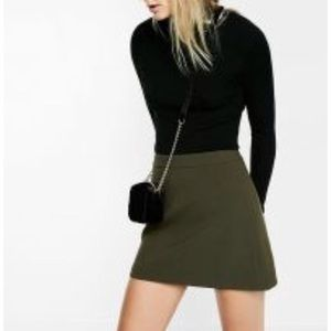 Express Skirts - New Express Olive Green High Waisted Mini Skirt